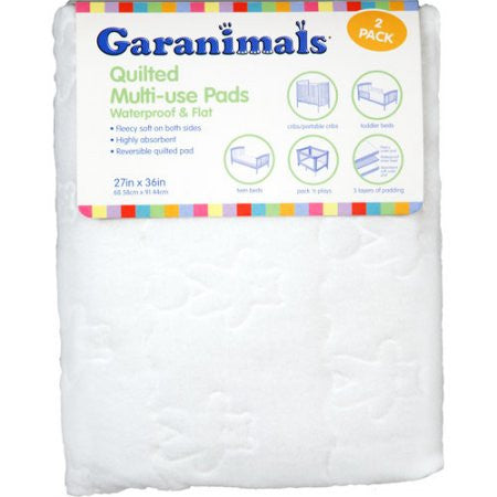 Garanimals Set of 2 Quilted Waterproof Multi-Use Crib Pads