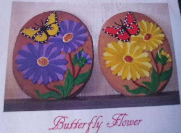 Butterfly with Flowers Garden Stone