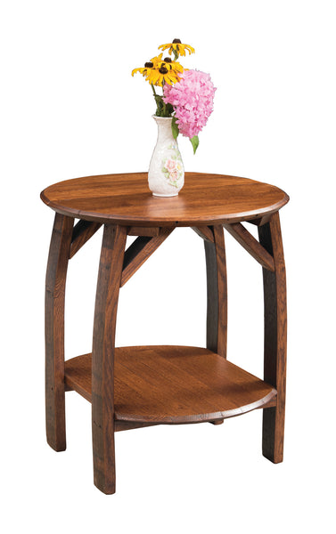 Rustic Whiskey Barrel End Table