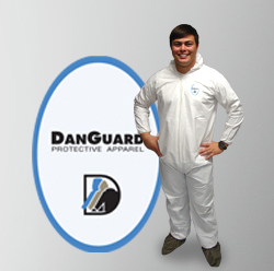 Danguard - MicroPorous Coveralls, White, Serged Seam, Hooded, Elastic Wrist & Ankles