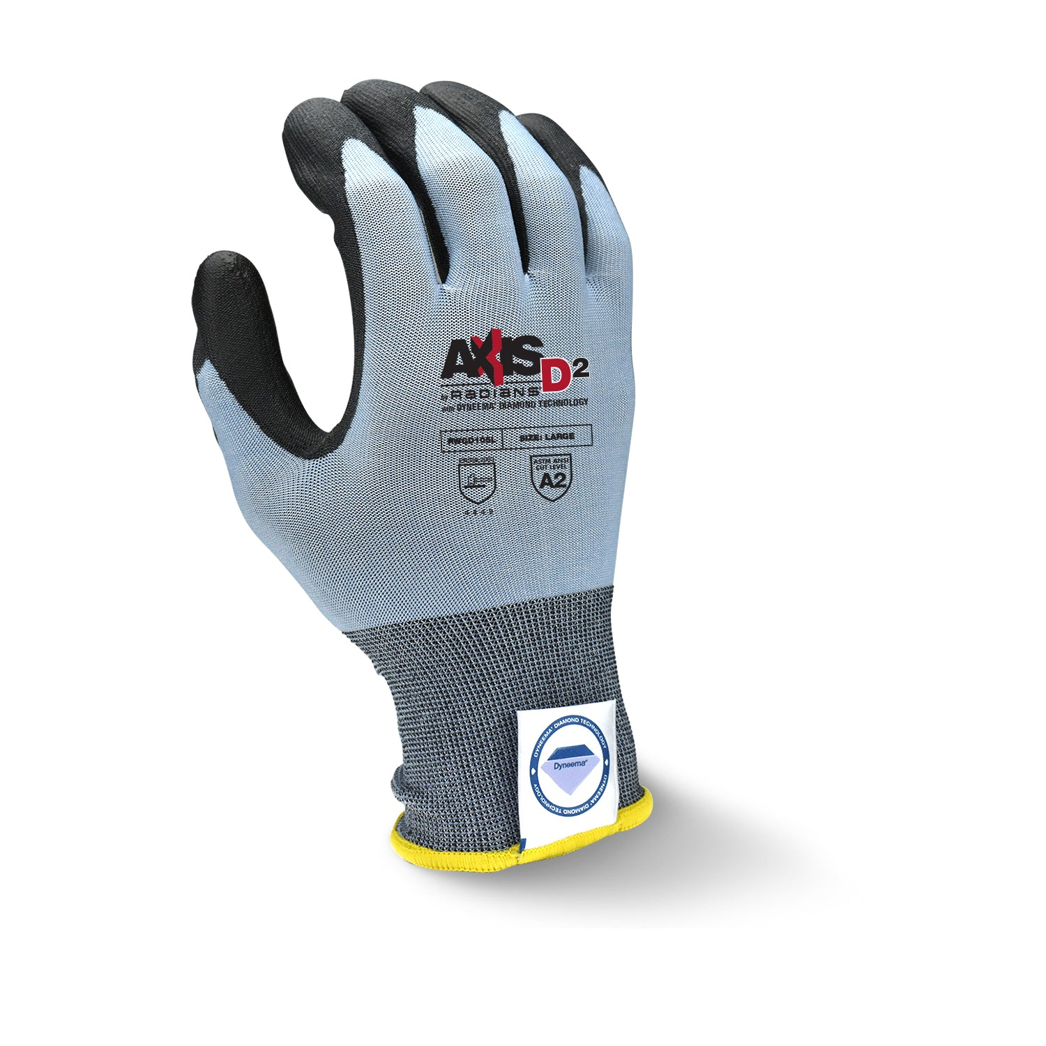 RADIANS RWGD105 AXIS D2™CUT PROTECTION LEVEL A2 GLOVE WITH DYNEEMA® DIAMOND TECHNOLOGY