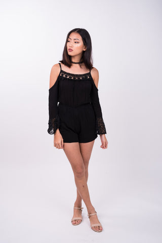 Off Shoulder Crochet Romper in Black