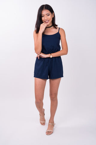 Drawstring Romper in Blue