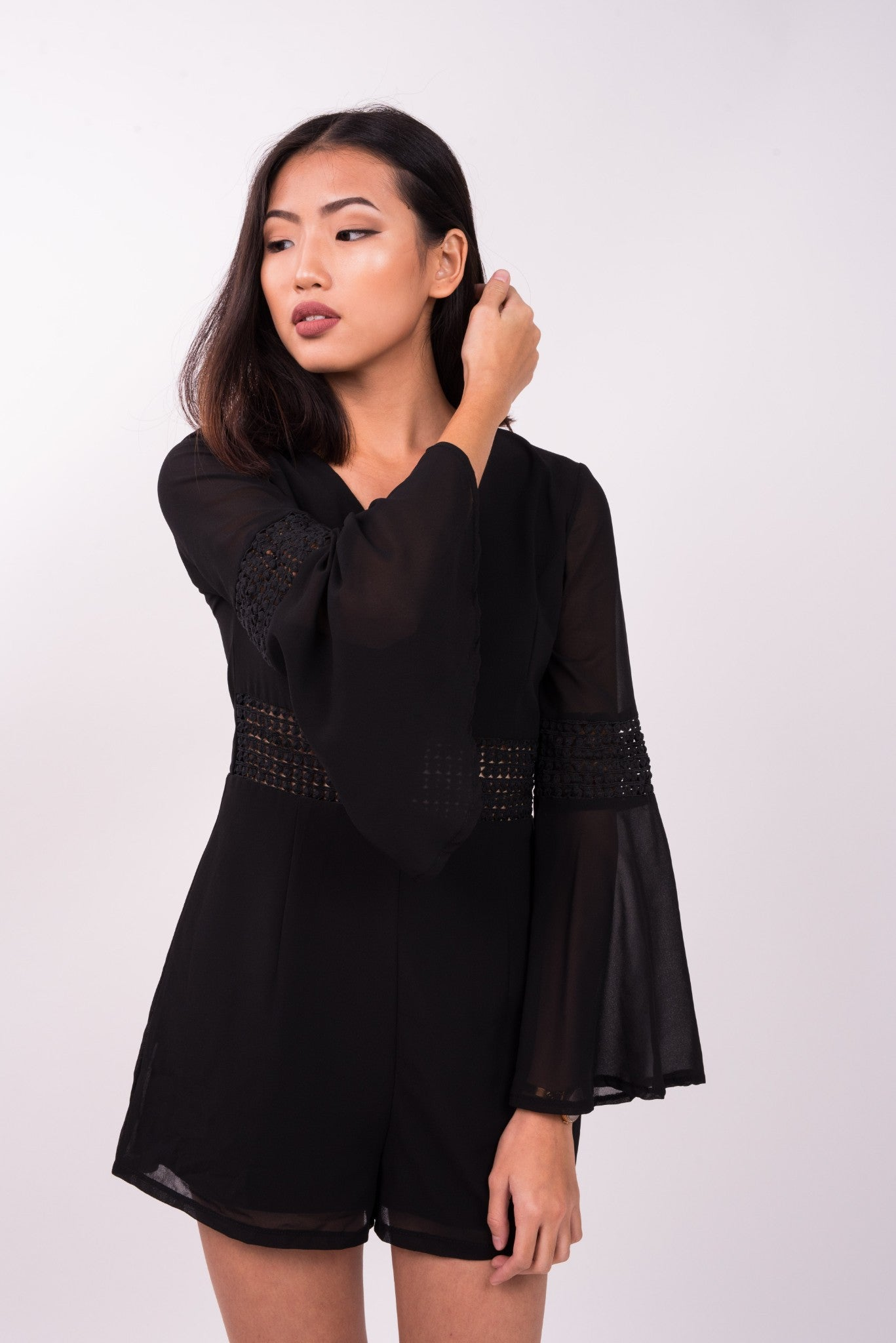 Crochet Bell Sleeve Romper in Black