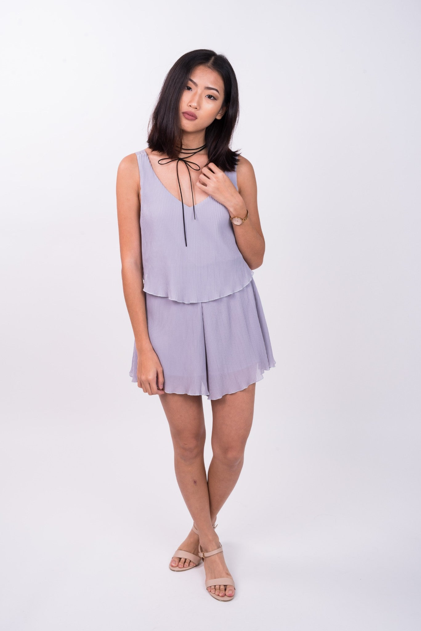 Ruffled Playsuit in Pale Grey