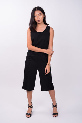 Side Laced Culottes Romper in Black