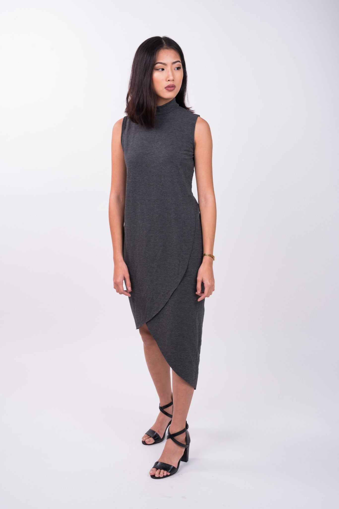 Foldover Midi in Dark Grey