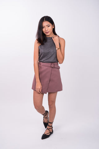 Asymmetrical Buckle Skirt in Dusty Pink