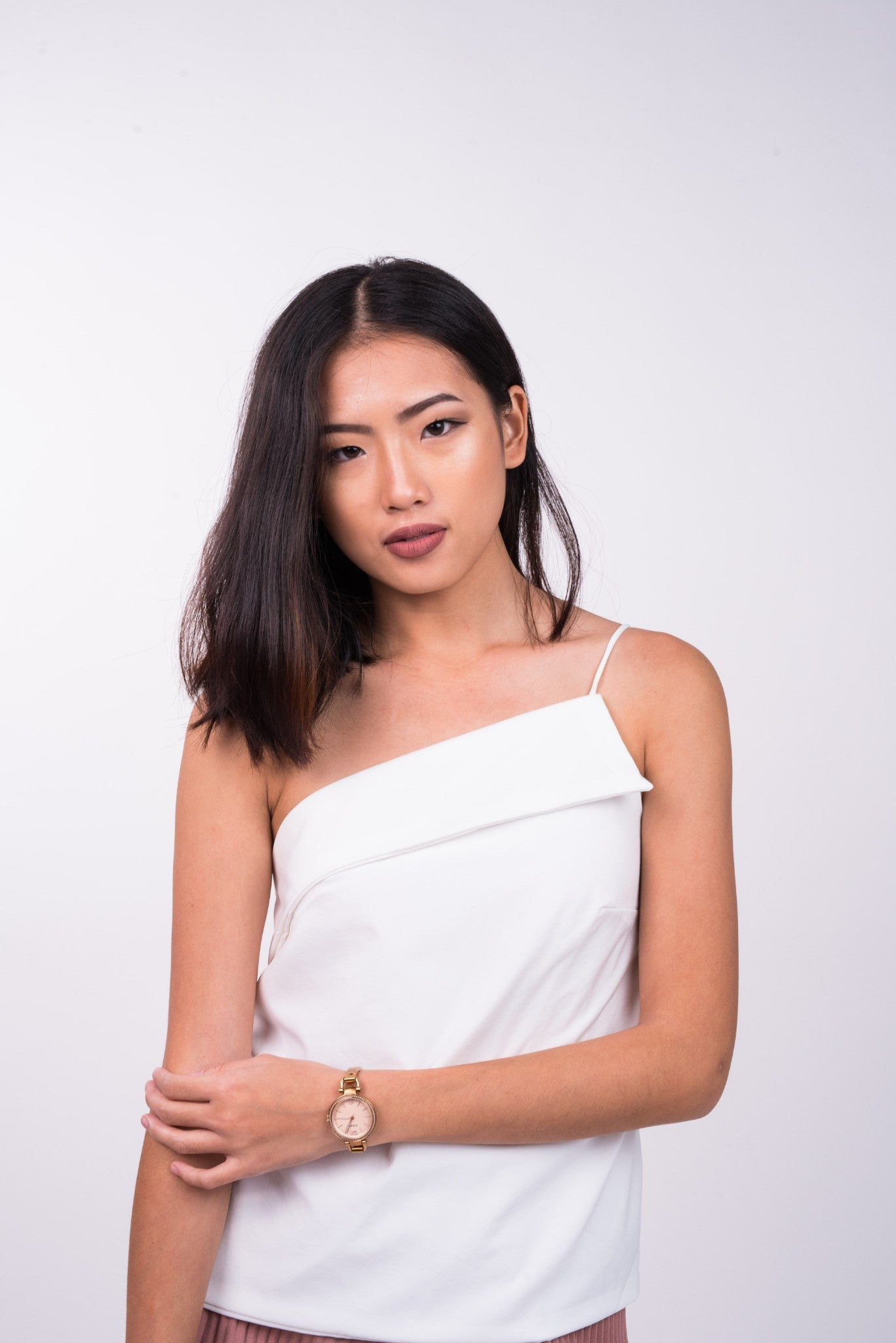 Front Fold Toga Top in White
