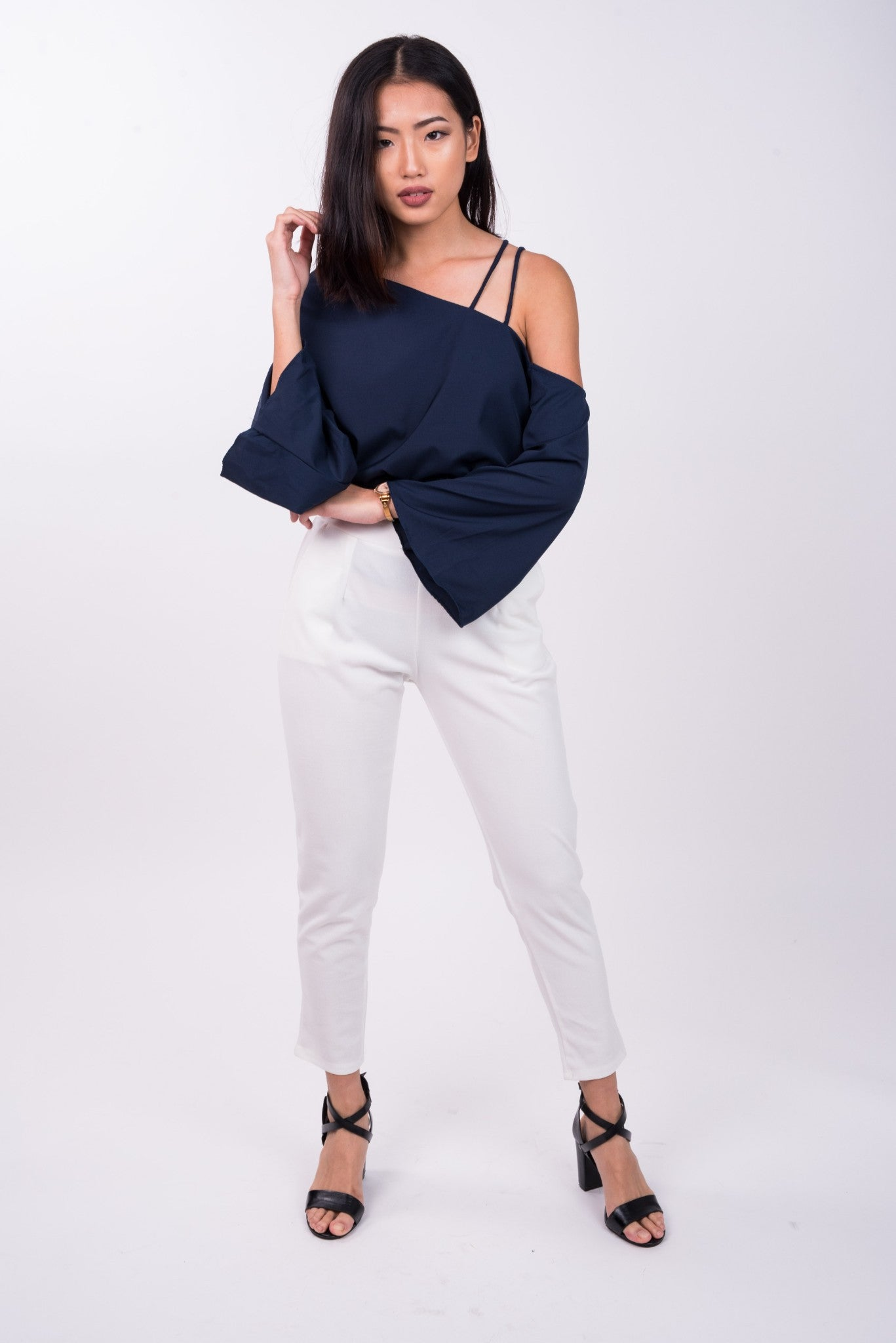 Long Sleeved Double Strap Toga Top in Navy