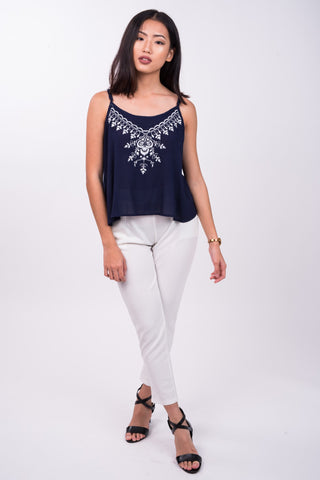 Embroidered Boho Top in Navy