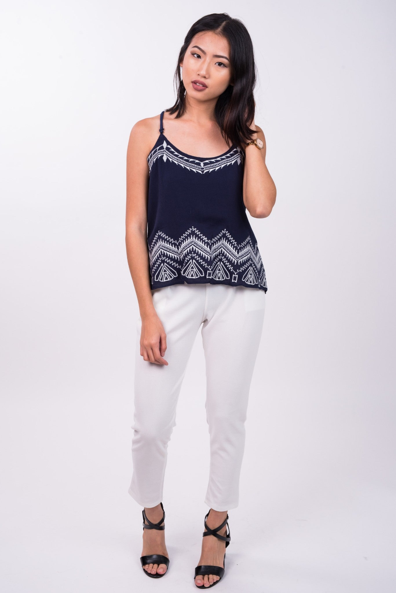 Embroidered Tribal Top in Navy