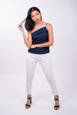 Front Fold Toga Top in Navy