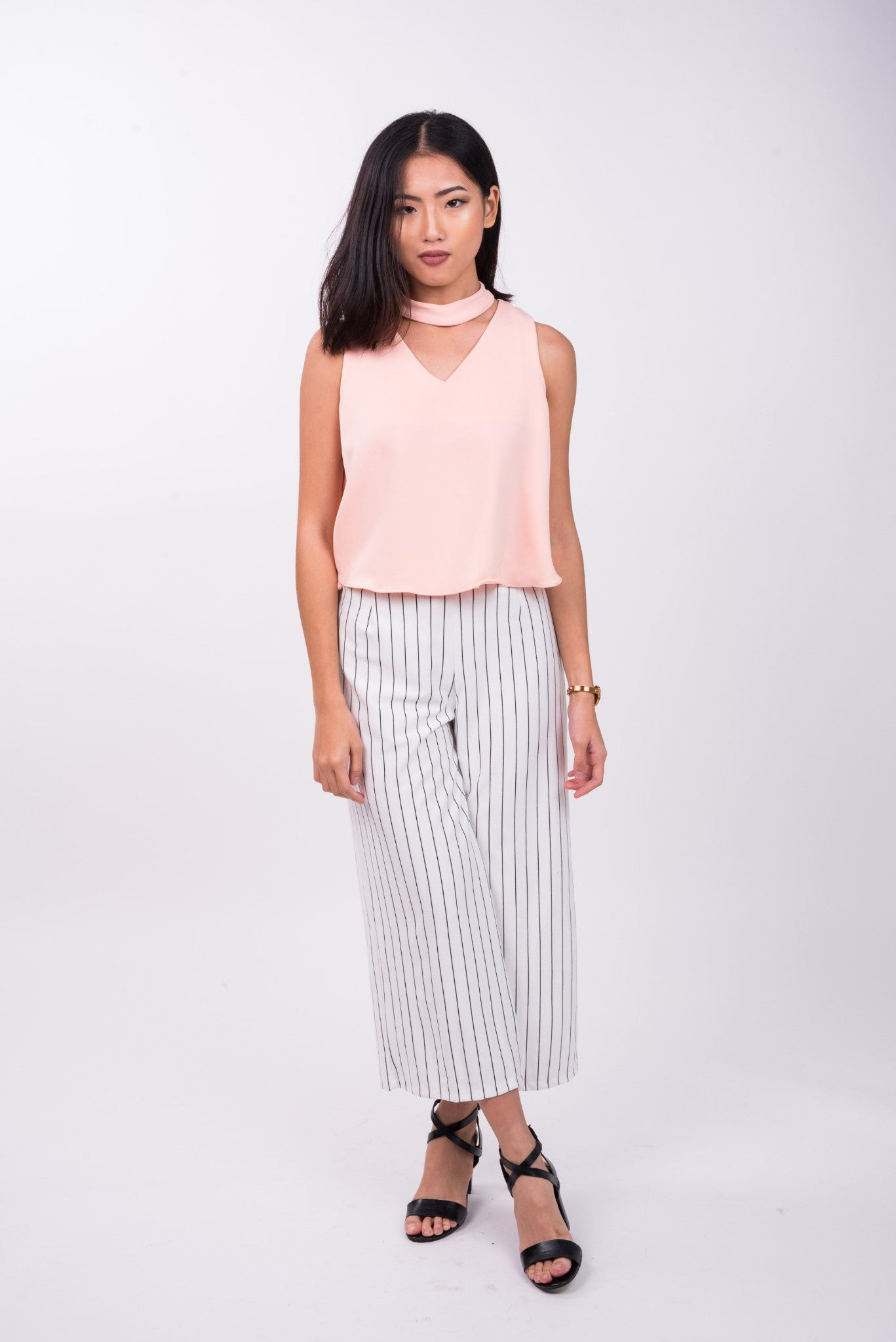 Pin Striped Pants in White