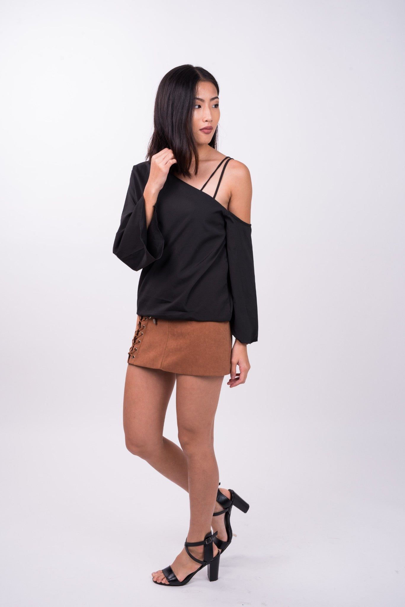 Long Sleeved Double Strap Toga Top in Black