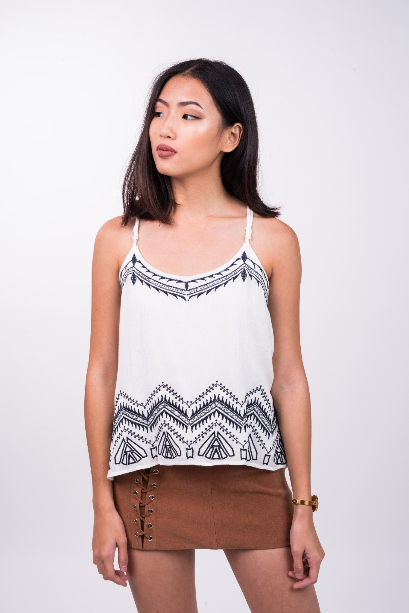 Embroidered Tribal Top in White