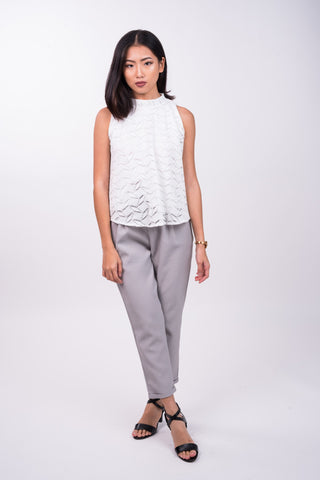 High Collared Crochet Top in White