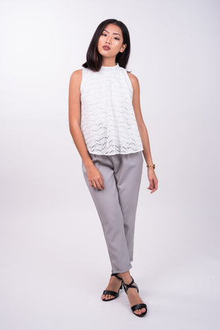 Drawstring Trousers in Light Grey