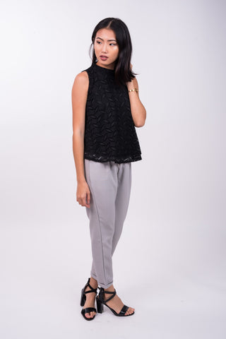 High Collared Crochet Top in Black