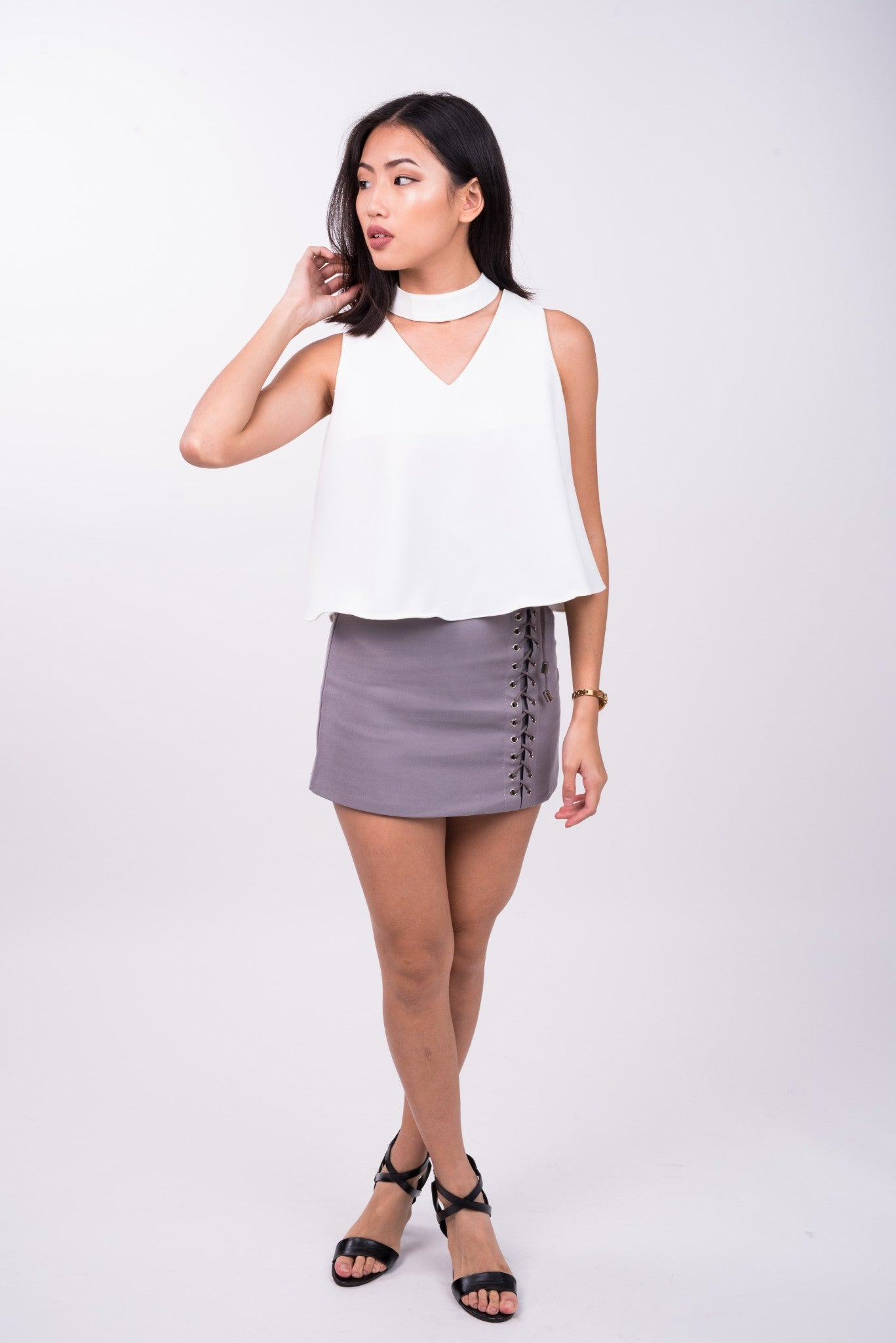 Shoestring Skirt in Grey
