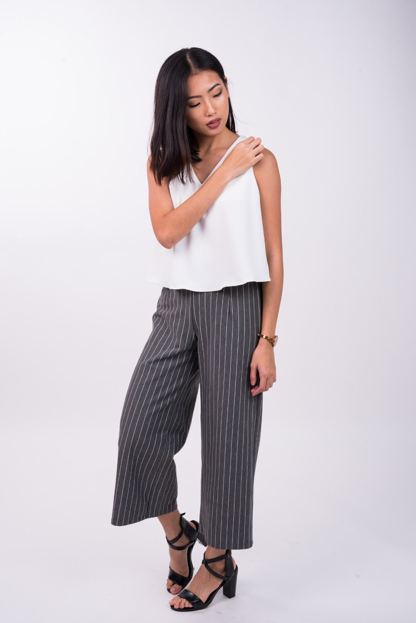 Pin Striped Pants in Grey