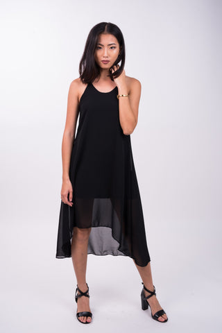 Hi-Lo Midi Dress in Black