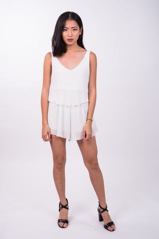 Ruffled Playsuit in White