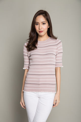 Basic Stripe Tee in Blush