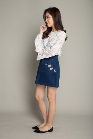 Floral Print Denim Skirt in Dark Blue