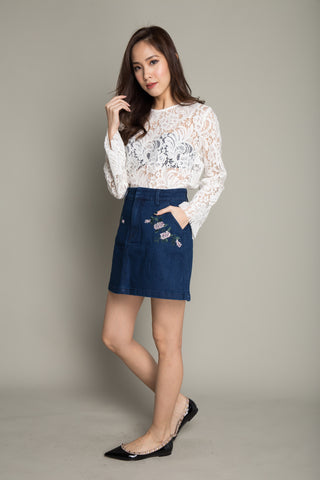 Floral Print Lace Top in White