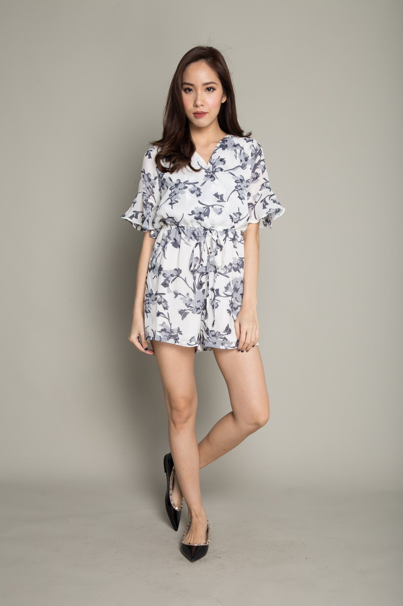 Floral Romper in Grey White