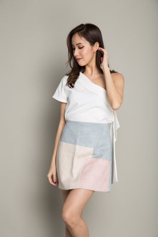 Colorblock Skirt in Light Blue