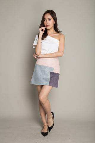 Colorblock Skirt in Light Pink