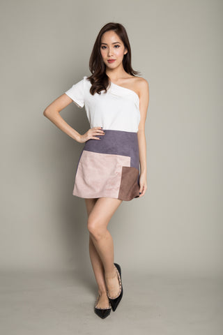 Colorblock Skirt in Dark Grey