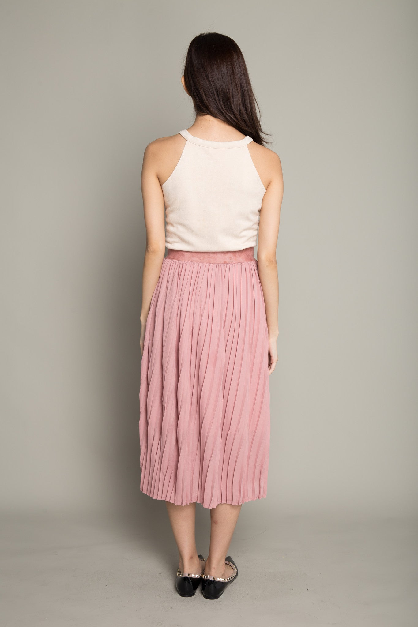 Pleated Twirl Skirt in Blush Pink