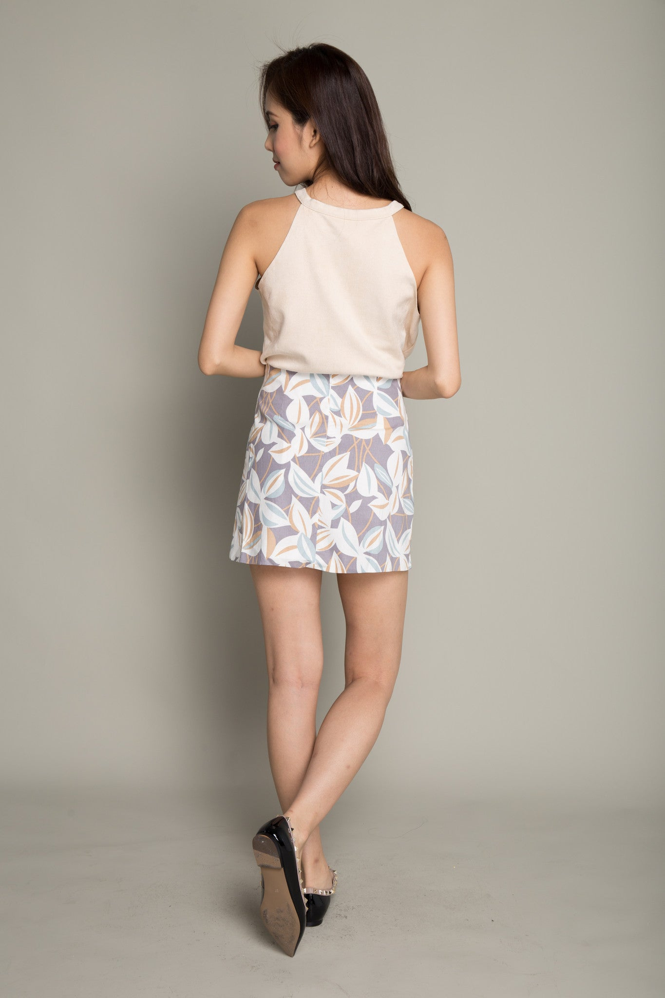 Tropical Leaf Print Skirt