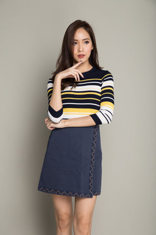 Basic Stripe Tee in Navy