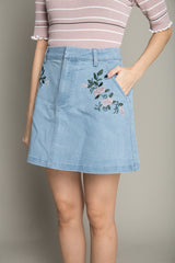 Floral Print Denim Skirt in Light Blue