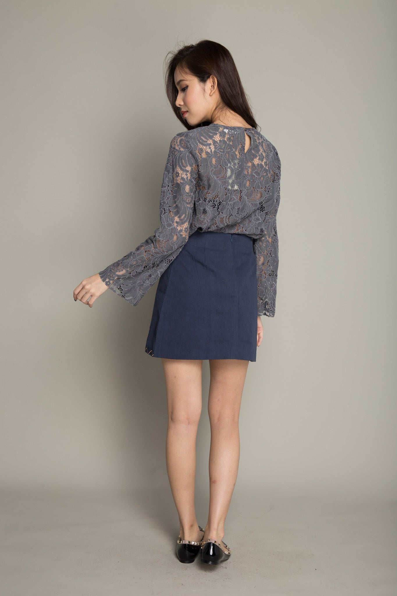 Floral Lace Top in Dark Grey