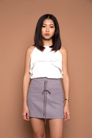 Lace Up Seude Skirt in Grey