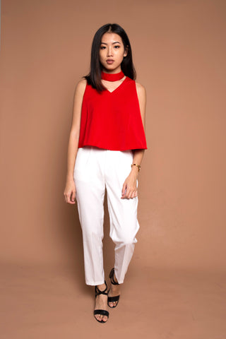 V Neck Top with Detachable Choker in Red