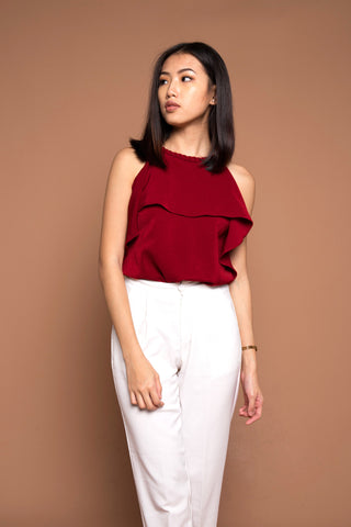 Braided Ruffle Top in Wine Red