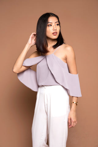 *BACKORDER* Two Ways Drape Sleeve Top in Grey