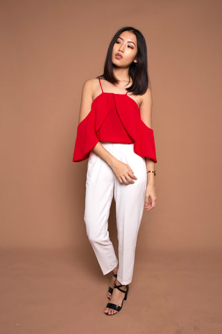 Two Ways Drape Sleeve Top in Red