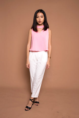 V Neck Top with Detachable Choker in Pink