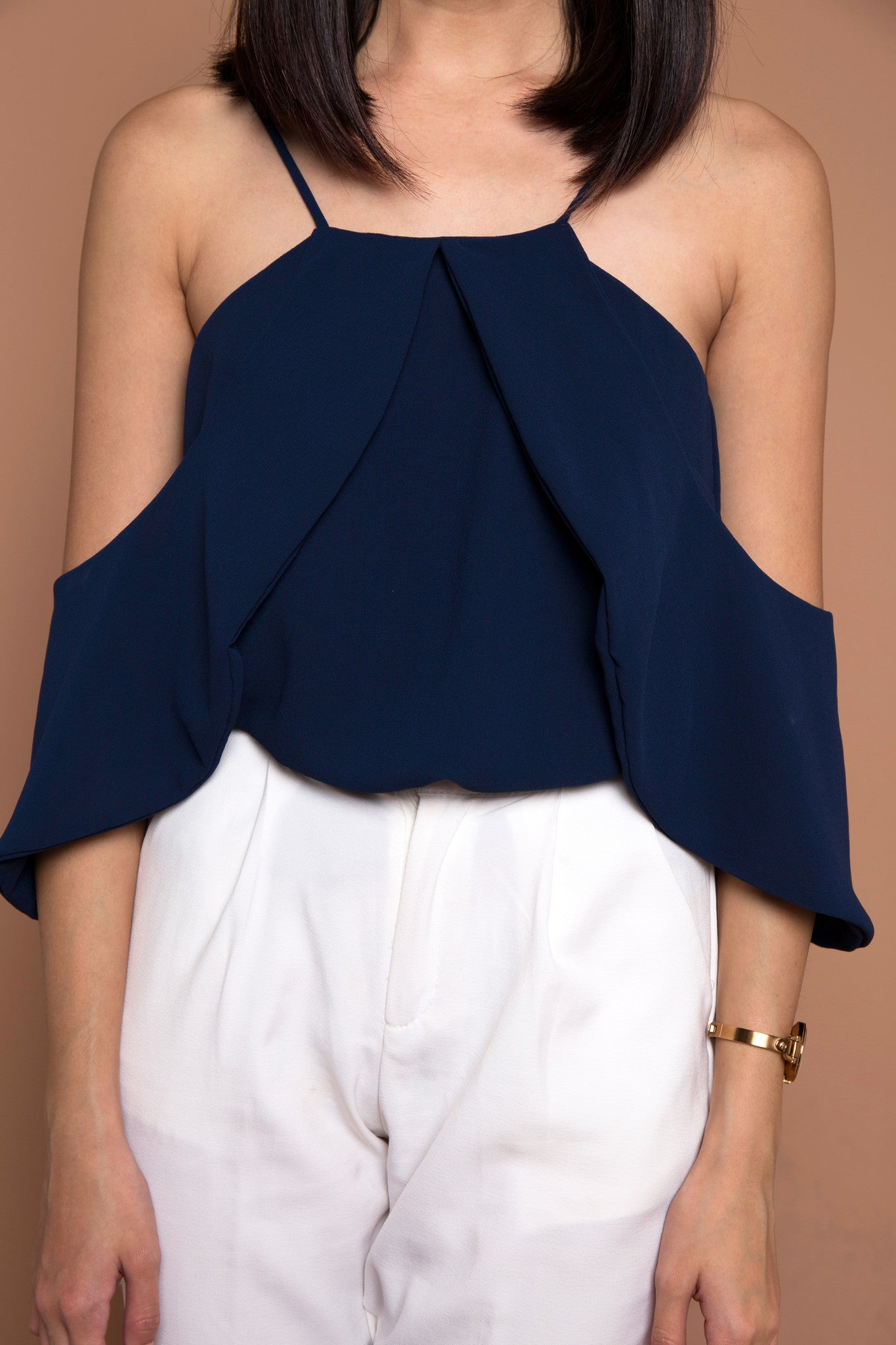 Two Ways Drape Sleeve Top in Navy