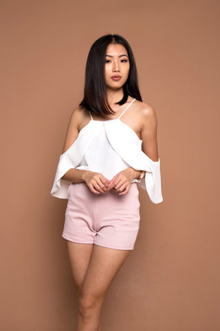 Two Ways Drape Sleeve Top in White