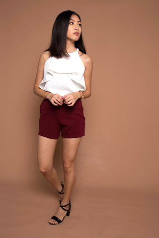 Basic Go To Shorts in Wine Red