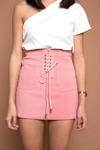 Lace Up Seude Skirt in Pink