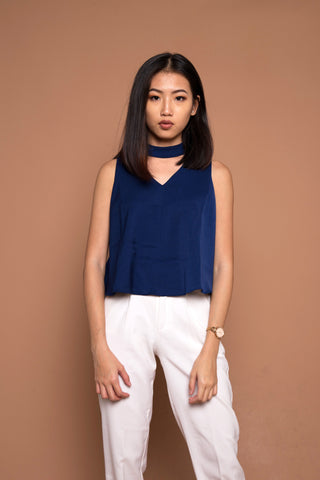 V Neck Top with Detachable Choker in Navy